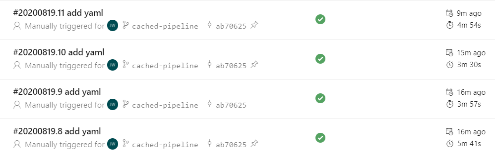 build time without cache task in Azure Pipelines